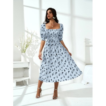 All Over Floral Print Square Neck Puff Sleeve Milkmaid Dress