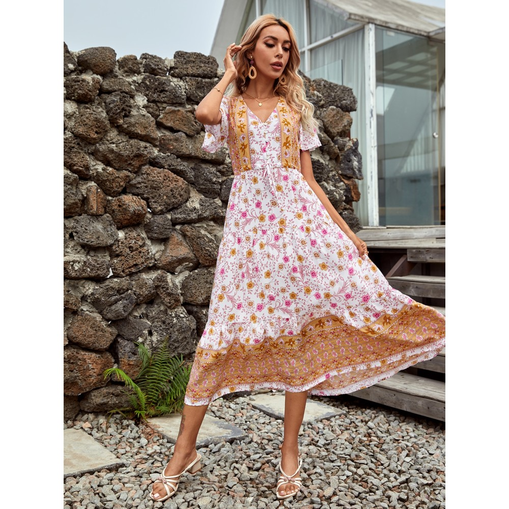 Allover Floral Knot Front Dress
