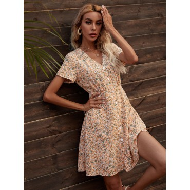 Daisy Floral Button Front Swing Dress