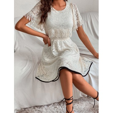 Contrast Binding Lace A-line Dress