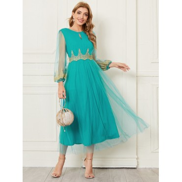 Cut Out Front Mesh Overlay Dress