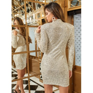 Keyhole Neck Ruched Sleeve Sequin Dress