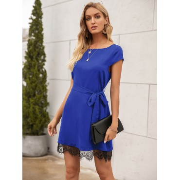 Contrast Lace Self Tie Fitted Dress