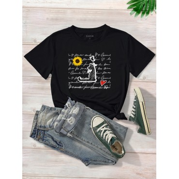 Cat And Letter Graphic Tee