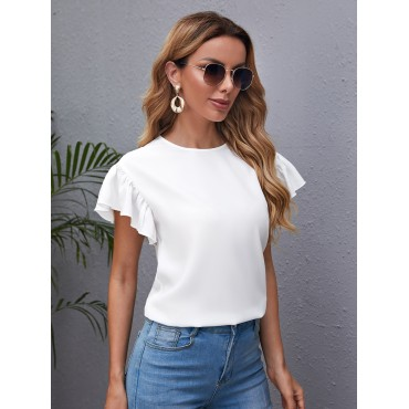 Butterfly Sleeve Solid Top