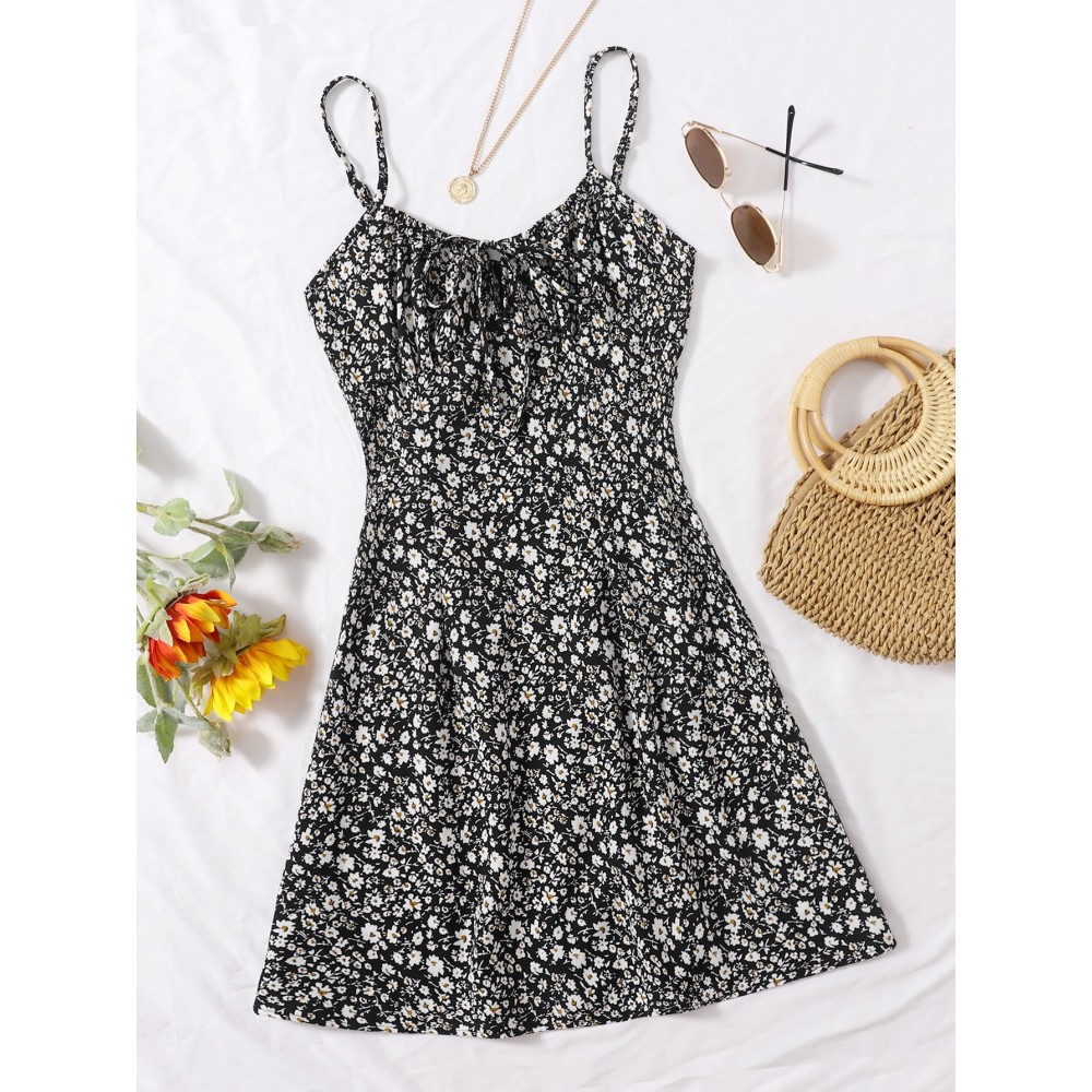 Tie Front Ditsy Floral Print Dress